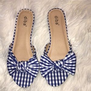 diba 8M sandals royal blue and white check